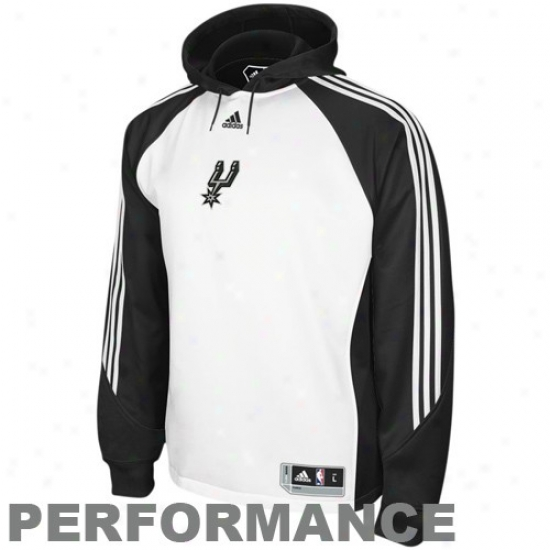 San Antomio Spurs Hoodys : Adidas San Antonio Spurs White Pre-game Action Hoodys