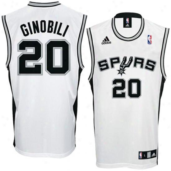 San Antonio Spurs Jersey : Adidas San Antonio Spurs #20 Manu Ginobili White Replica Basketball Jersey