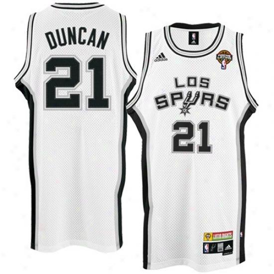 1b42a94de San Antonio Spurs Jerseys   Adidas San Antonio Spurs  21 Tim Duncan White  Latin Night