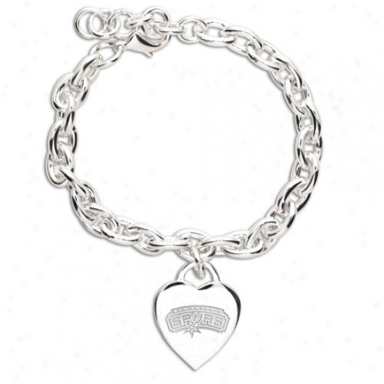 San Antonio Spurs Ladies Silver Hesrt Charm Bracelet