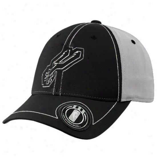 San Antonio Spurs Merchandise: Adidas San Antonio Spuurs Black Retro Logo Flex Fit Hat