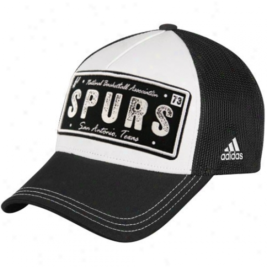 San Antonio Spurs Merchandise: Adidas San Antonio Spurs Black-white Plate Mesh Back Adjustable Trucker Hat