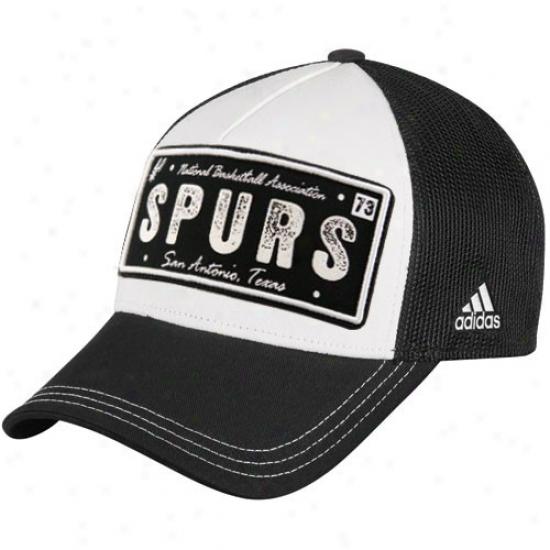 San Antonio Spurs Merchandise: Adidas San Antonio Spurs Black-white Plate Mesh Back Adjustable Trucker Hat