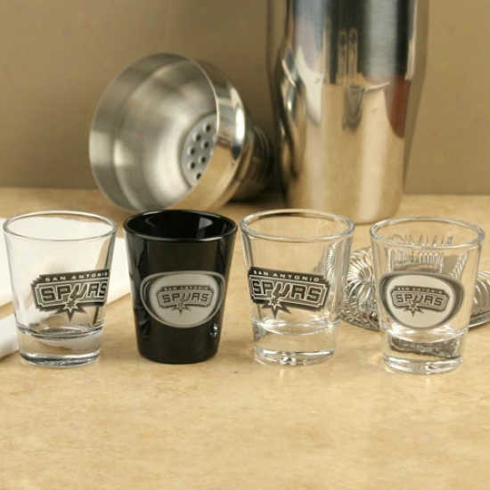 San Antonio Spurs Team Logo 4-pack Shot Glass Set