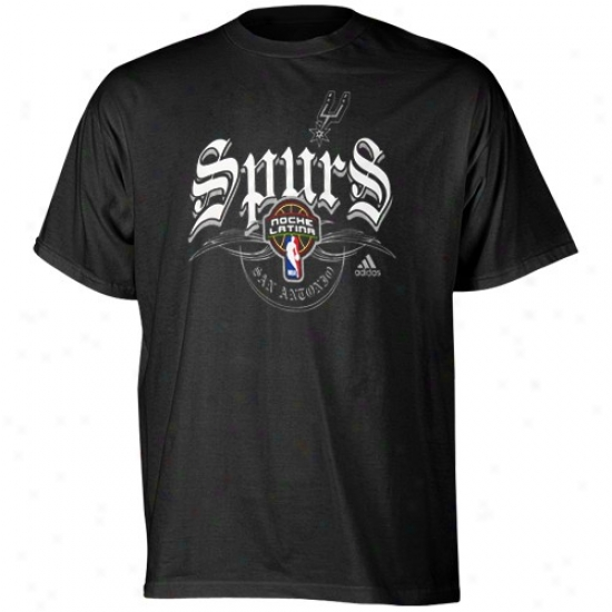 San Antonio Spurs Tee : Adidas San Antonio Spurs Black Latin Night North-European Tee