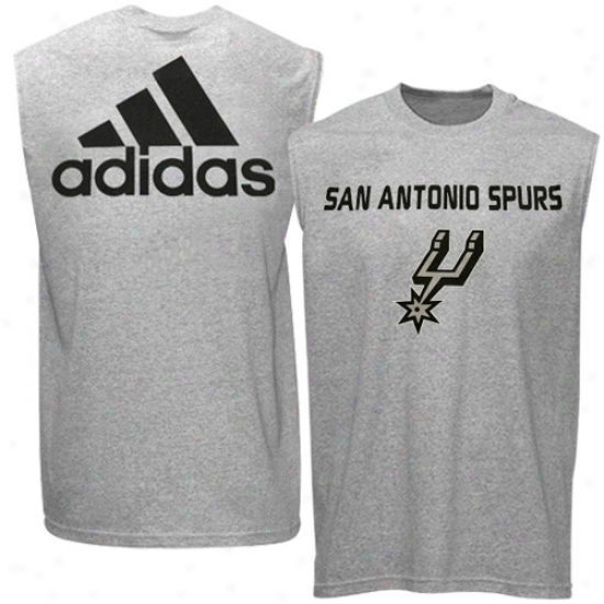 San Ahtonio Spurs Tshirt : Adidas San Antonio Spurs Youth Ash Iconic Muscle Sleevelwss Tshirt