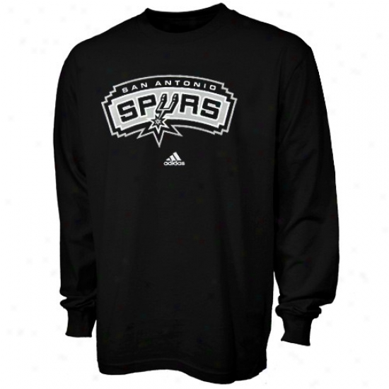 San Antonio Spurs Tshirt : Adidas San Antonio Spurs Youth Mourning Full Primary Logo Long Slevee Tshirt