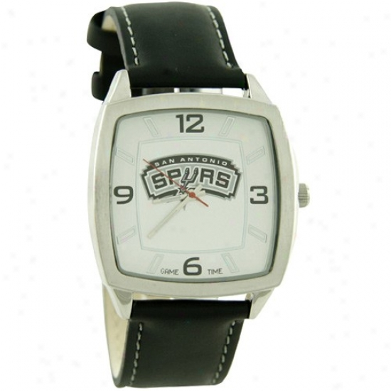 San Antonio Spurs Wrist Watch : San Antoniip Spurs Retro Wrist Watch W/ Leather Bahd