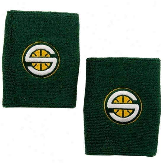 Seattle Supersonics Hats : Adidas Seattle Supersonics Green Team Logo Wrist Sweatband