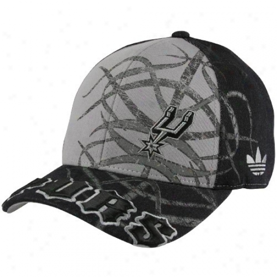 Spurs Hats : Adidas Spurs Black-fray Tatted Structured Flex Fit Hats