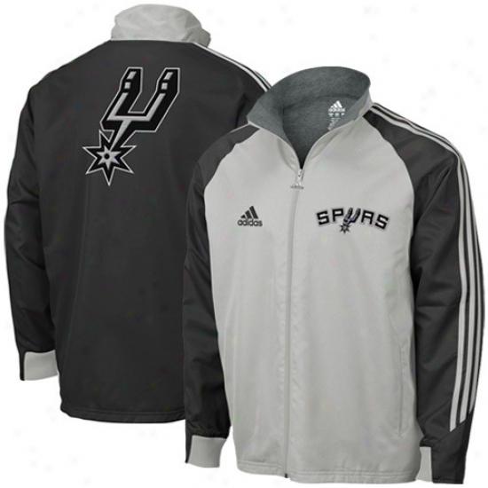 Spurs Jacket : Adidas Spurs Gray-black Midweight Full Zip Jzcket