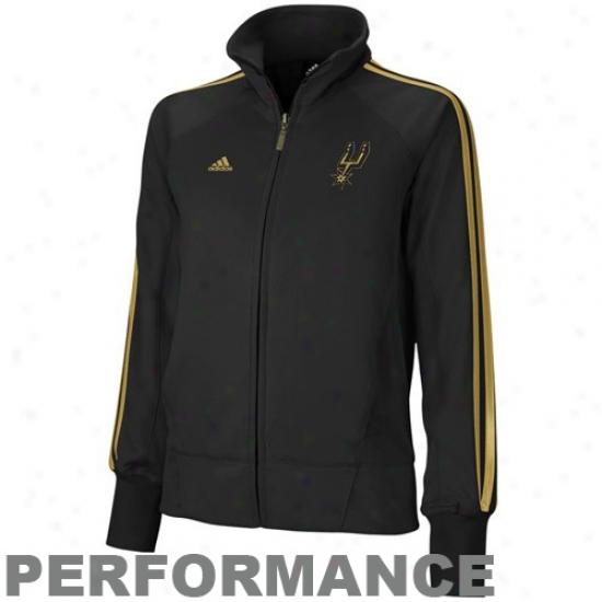 Spurs Jackets : Adidas Spurs Ladies Black On Court Full Zip Performance Jackets