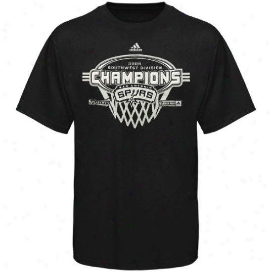 Spurs T Shirt : Adidas Spurs 2009 Southwest Division Champions Locker Room T Shirt