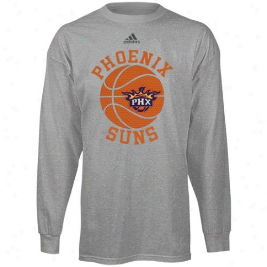 Suns Apparel: Adidas Suns Youth Ash All Day Long Sleeve T-shirt