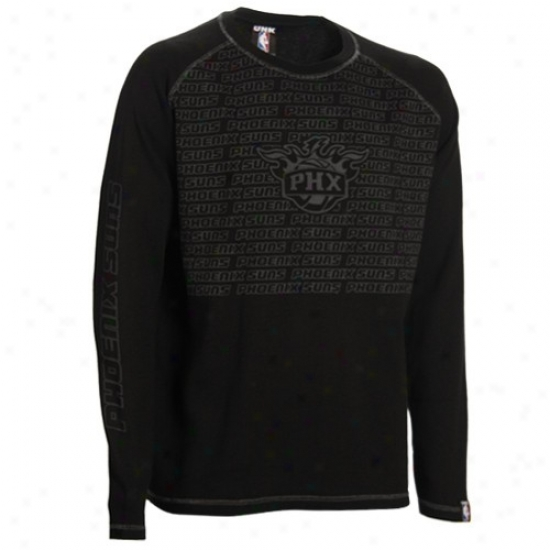 Suns Attire: Suns Black The Fadeaway Long Sleeve Thermal Shirt