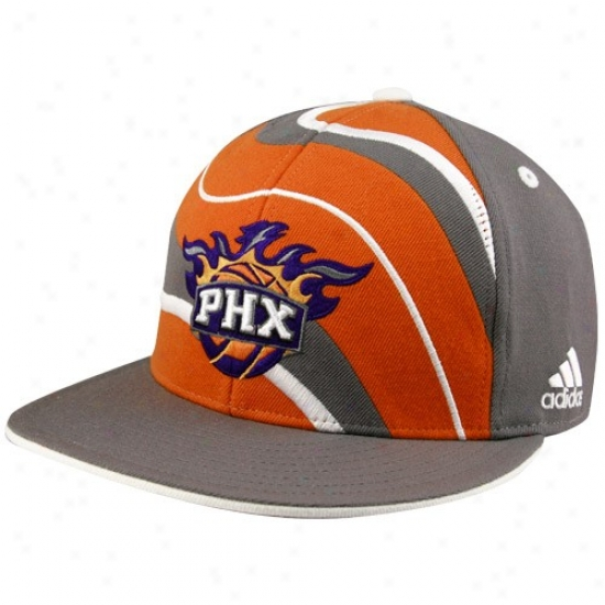 Suns Cap : Adidas Suns Gray Spiral Even Bill Fitted Cover