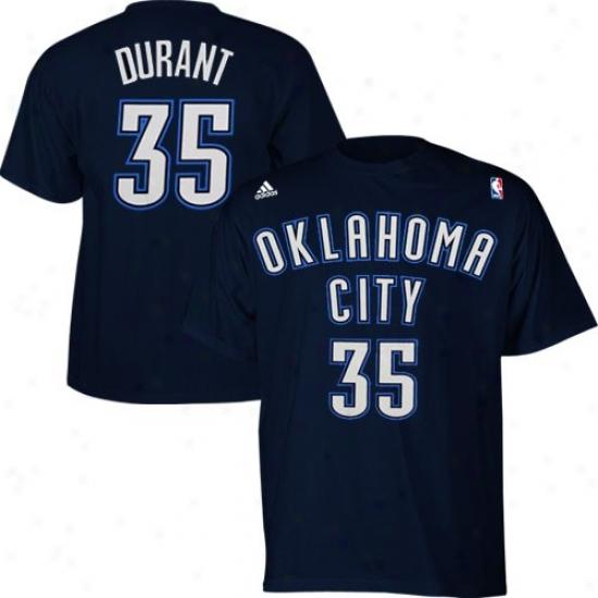 Thunder T-shirt : Adidas Thunder #35 Kevin Durant Navy Livid Net Player T-shirt