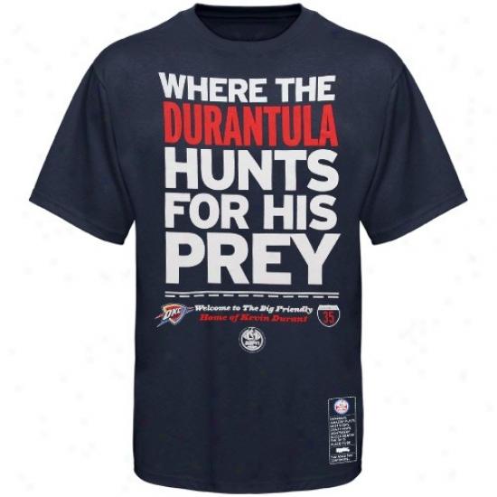 Thunder T-shirt : Majestic Thunder #35 Kevin Durant Navy Blue Nba Campaign Espm T-shirt