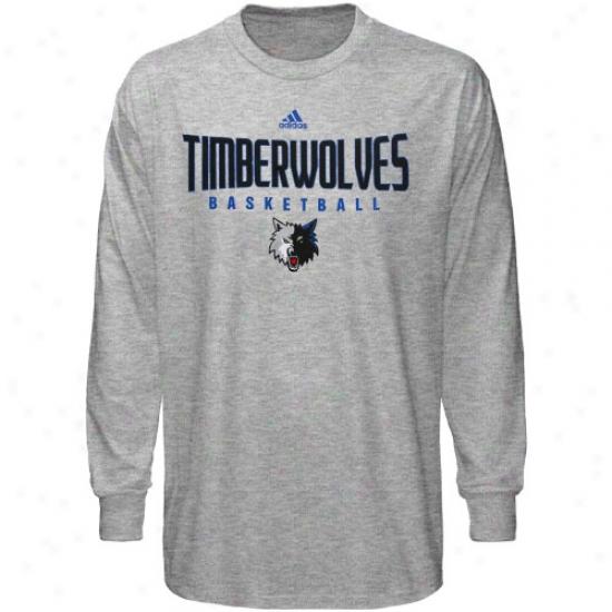 Timberwolves Apparel: Adidas Timberwolves Ash Absolte Long Sleeve T-shirt