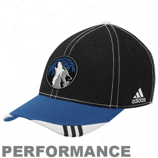 Timberwolves Caps : Adidas Timberwolves Black-blue Official In c~tinuance Court Performance Flex Fit Caps