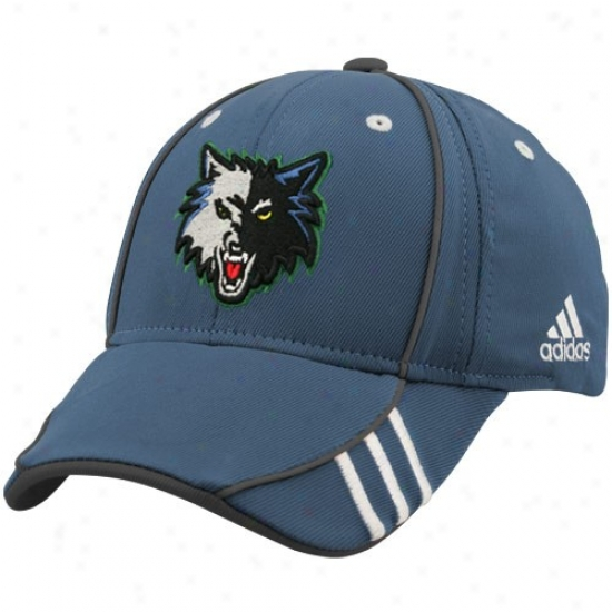 Timnerwolves Caps : Adidas Timberwolves Blue Nba Draft Day 1-fit Flex Fit Caps