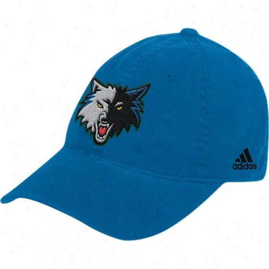 Timberwolves Hat : Adidas Tlmberwolves Blue Basic Logo Flex Fit Slouch Hat