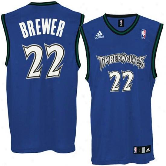 Timberwolves Jersey : Adidas Timberwolves #22 Corey Brewer Navy Blue Replica Basoetball Jersy