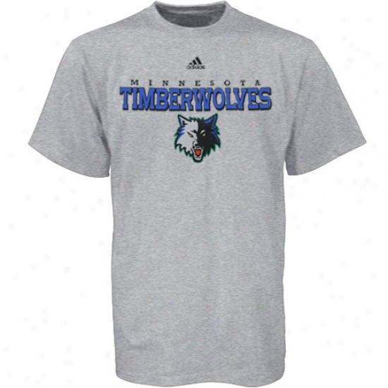 Timberwolves Tshirt : Adidas Timberwolves Ash True Court Tshirt