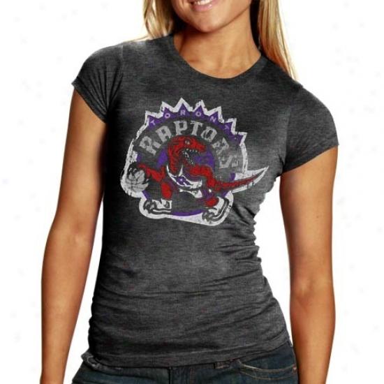 Toronto Raptor Apparel: Toronto Raptor Ladies Charcoal Distressed Logo Triblend T-shirt