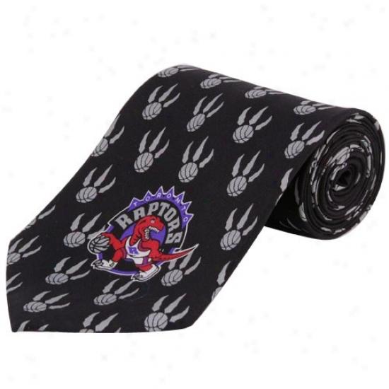Toronto Raptors Black Logo Pritn Silk Neck Tie