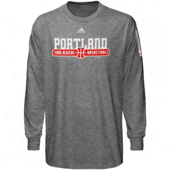 Trail Blazers Tshirt : Adidas Trail Blazers Dark Ash Ball Horizon Long Sleeve Tshirt