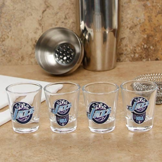 Utah Jazz 4-pack Enhanced High Definition Design Shot Glass Set