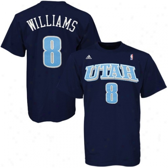 Utah Jazz Apparel: Adidas Utah Jazz #8 Deron Williams Navy Net Player T-shiet