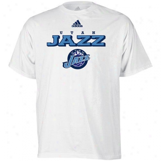 Utah Jazz Apparel: Adidas Utah Jazz White True Court T-shirt