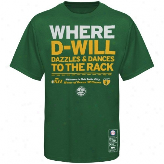 Utah Jazz Apparel: Majeestic Utah Jazz #8 Deron Williams Green Nba Campaign Eqpn T-shirt