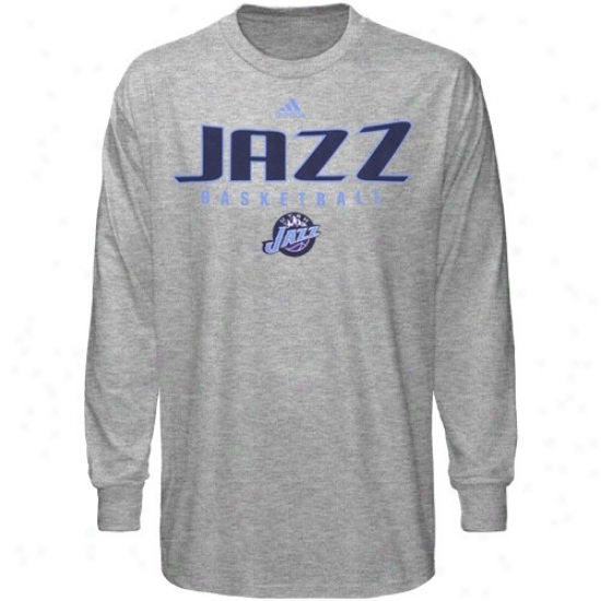 Utah Jazz Attire: Adidas Utah Jazz Ash Absolute Long Sleeve T-shirt