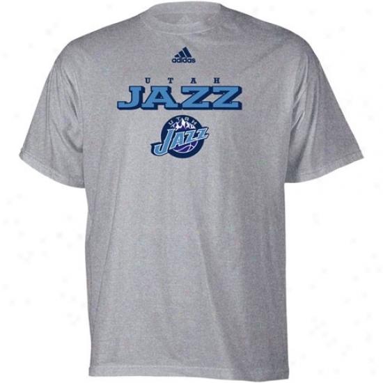Utah Jazz Attire: Adidas Utah Jazz Ash True T-shirt