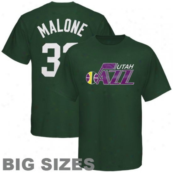 Utah Jazz Attire: Majestic Utah Jazz #32 Karl Malone Green Retired Player Throwback Big Sizes T-shirt