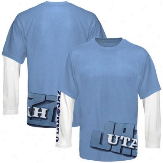 Utah Jazz Attire: Uta Jaazz Light Blue Two Plait Deceitful Layer Long Sleeve T-shirt