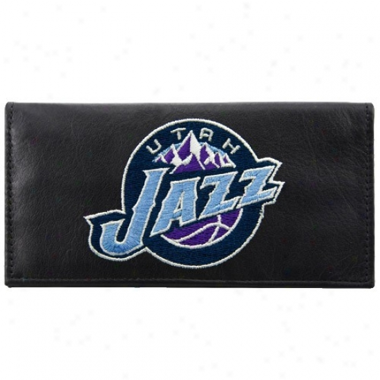 Utah Jazz Black Leather Embroidered Checkbook Cover