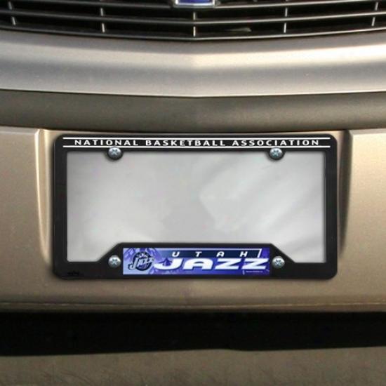 Utah Jazz Black Plastic Liicense Plate Frame