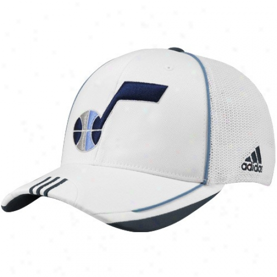 Utah Jzzz Caps : Adidas Utah Jazz White 2010 Official On-court Ensnare Back Flex Fit Caps