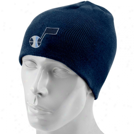 Utah Jazz Gear: Adidas Utah Jazz Navy Blue Basic Logo Knit Scully Knit Beanie