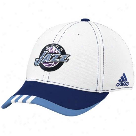 Utah Jazz Gear: Adidas Utah Jazz White On Court Flex Fit Hat
