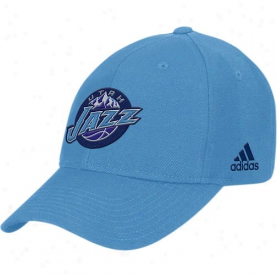Utah Jazz Hat : Adidas Utah Jazz Light Blue Basic Logo Cptton Adjustable Hat