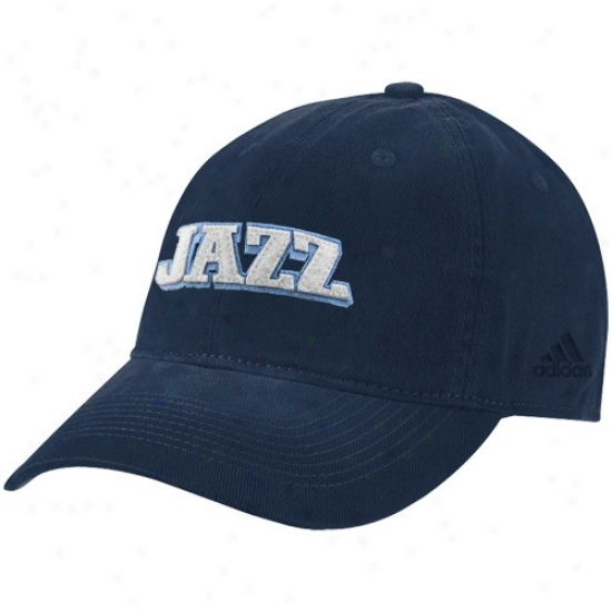 Utah Jazz Hat : Adidas Utah Jazz Navy Blue Script Clownish gait Hat