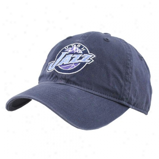 Utah Jazz Hats : Adidas Utah Jazz Navy Blue Basic Logo Slouch Hats