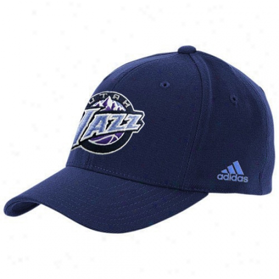 Utah Jazz Hats : Adidas Utah Jazz Navy Blue The Pivot Logo Adjstable Hats
