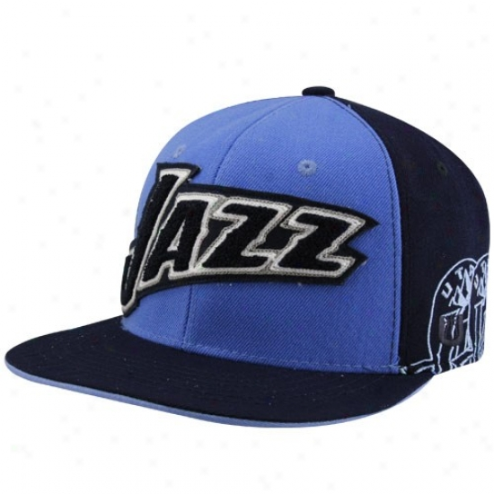 Utah Jazz Hats : Utah Jazz Black-light Blue Nba A. Thompson FittedH ats