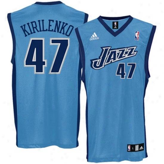 Utah Jazz Jersey : Adidas Utah Jazz #47 Kirilenko Blue Replica Basketball Jersey
